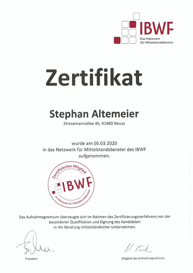 IBWF offizielles Zertifikat